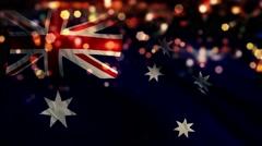 Australia Flag Light Night Bokeh Abstract Loop Animation 4K - stock footage