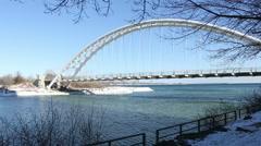 Humber Bay Arch Bridge Toronto 2 Pan Stock Footage