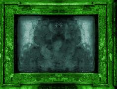 Green and blue old gothic frame - stock photo