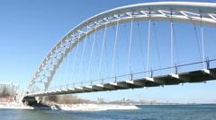Humber Bay Arch Bridge Toronto 3 Pan Stock Footage