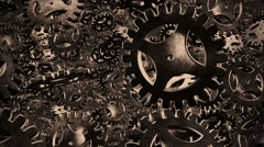 Abstract vintage brown rotating gears - stock footage