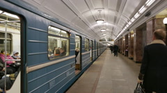 Subway train of Moscow underground. - stock footage