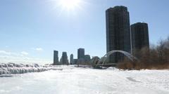 Toronto West Winter Humber Bridge Sun Stock Footage