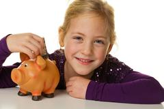 child with a piggy bank. dollar, save - stock photo