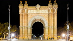 Night light tourist place arc de triomf 4k time lapse barcelona spain Stock Footage