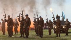 Soldiers Shoot Up. With Sound Stock Footage