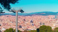 Barcelona city sun light montjuic park lift panorama 4k time lapse spain Stock Footage