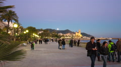 Evening light sitges bay church view 4k time lapse spain Stock Footage