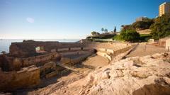 Day light tarragona amphitheatre panorama 4k time lapse spain Stock Footage