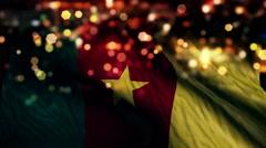 Cameroon Flag Light Night Bokeh Abstract Loop Animation 4K Stock Footage