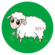 Stock Illustration of Aries cute sheep.