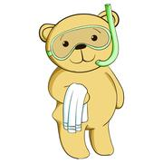 Cute teddy bear on beach. - stock illustration