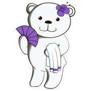 Cute white teddy bear in spa salon. - stock illustration
