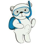 Cute white teddy bear on vacation. - stock illustration