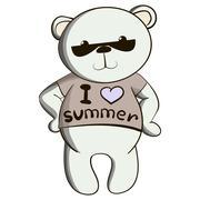 Cute teddy bear in summer t-shirt  Stock Illustration