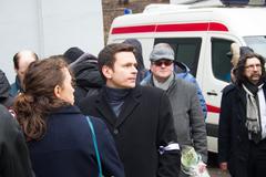 Politician Ilya Yashin at the funeral of Boris Nemtsov - stock photo