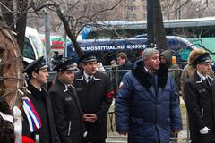 Funeral service near the funeral of Boris Nemtsov - stock photo
