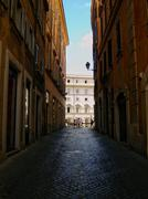 Rome alley in summer sunset. Stock Photos