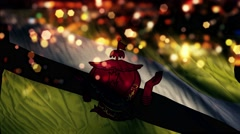 Brunei Flag Light Night Bokeh Abstract Loop Animation 4K Stock Footage