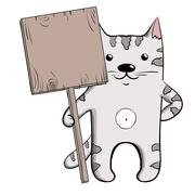 Cute grey cat with wooden plaque 2. Stock Illustration