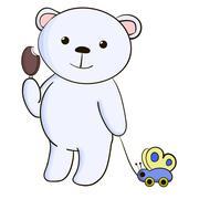 Cute white bear with icecream. - stock illustration