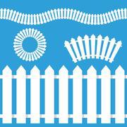 Stock Illustration of White Picket Fence Icon Set