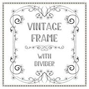 Vintage decorative frame with divider 4. - stock illustration