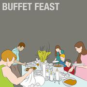 People in Buffet Line Stock Illustration