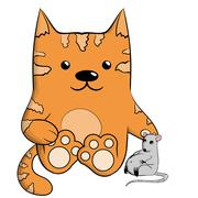 Cute ginger cat with mouse. Stock Illustration