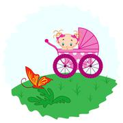 Baby girl from pram watching a butterfly - stock illustration