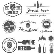 Collection of vintage logo, badge, emblem or logotype elements for beer, beer Stock Illustration