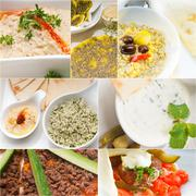 Arab middle eastern food collage Stock Photos