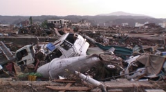 Japan tsunami damage Minamisanriku Stock Footage