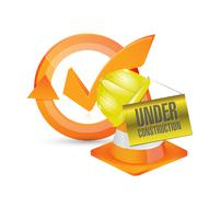 Under construction approve check mark cycle Stock Illustration