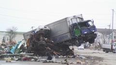 Japan Tsunami damage to industrial area Sendai Stock Footage