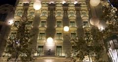 barcelona night light holiday decoration on building 4k spain - stock footage