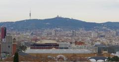 Barcelona day time panorama view tibidabo mountain 4k spain Stock Footage