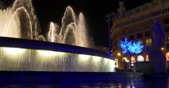 barcelona main square night light fountain close up 4k spain - stock footage