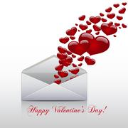 Hearts take off from  inside open envelope ,  concept love , Valentine Day. Stock Illustration