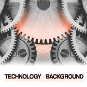 Stock Illustration of Technology vector background, burning hot gearwheel among metal gearwheels