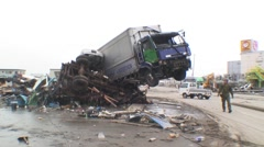 Japan Tsunami damage to industrial area Sendai - stock footage