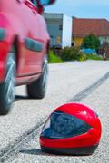 accident with a motorcycle. traffic accidents with skid marks on - stock photo