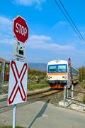 donauuferbahn. crossing without barriers - stock photo