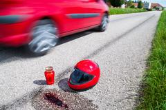 Stock Photo of accident with a motorcycle. traffic accidents with skid marks
