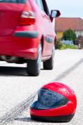 accident with a motorcycle. traffic accidents with skid marks - stock photo