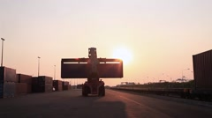 02 Sun Cargo Sunset Lift-Truck Loader Container Industrial Zone Stock Footage