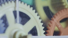 Ungraded: Colorful Plastic Gears Rotate Synchronously - stock footage