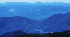 Mountain sunset view on small towns 4k spain Stock Footage