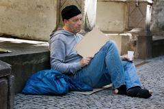 unemployed looking for work - stock photo