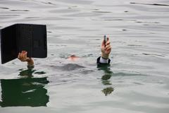 man in the water - stock photo